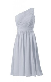 One-shoulder Chiffon Gown With Asymmetrical Pleats