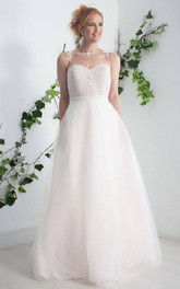 Sleeveless Illusion Central Ruched A-Line Wedding Dress With Appliques