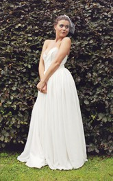 Sweetheart Empire Backless Chiffon Wedding Dress With Sash Pleats And Beading