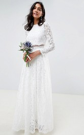 Simple Lace Two Piece Jewel-neck Long Sleeve Wedding Dress