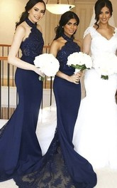 Lace And Jersey Sleeveless Mermaid Halter Appliqued Bridesmaid Dress With Train