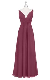 Sleeveless A-Line Empire Long Chiffon Dress With Ruching and Deep V-Neck