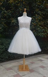 Short Knee-Length Tulle Lace Dress With Beading Keyhole Back
