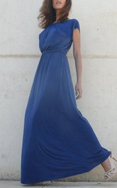 Fall Blue Bridesmaid Symmetrical Folds On Neckline Floor Length Bridesmaid Dress