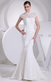 Lace Mermaid Pleated Dress with Illusion Neckline and Brush Train
