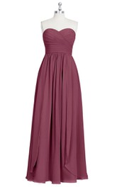 Sweetheart Chiffon Strapless A-Line Dress With Pleats and Crisscross Ruching