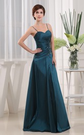 Spaghetti-Strap Floor-Length Dress With Beading and Side Ruching