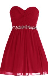 Sweetheart Pleated Short Dress With Sequins