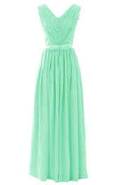 V-neck Pleated Chiffon A-line Gown With Bow