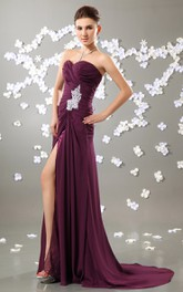 Shining Style Dress With Embellished Broach And Slit
