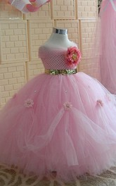 Sleeveless Beaded Tulle Dress With Flower and Pleats