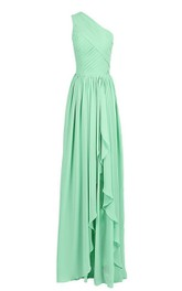 One-shoulder Drapped Chiffon A-line Gown With Pleats