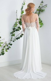 Chiffon Satin Beaded Lace Button Wedding Dress