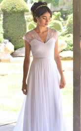 V-Neck Cap-Sleeve Chiffon Pleated Wedding Dress With Deep-V Back