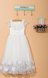 Cape Neck Pleated Tulle&Lace Dress With Flower Sash Ribbon