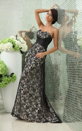 A-Line Lace Graceful Sweetheart Sleeveless Gown With Crisscross Detail