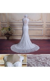Trumpet Cap Sleeve Lace Satin Dress With Beading Keyhole Back