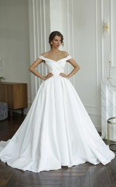 Criss Cross Off-the-shoulder Illusion Satin Wedding Dress With Illusion Keyhole Back And Buttons