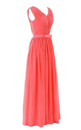 Sleeveless V-neck Chiffon Gown With Belt
