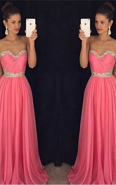 Newest Chiffon Pink Beadings A-line Evening Dress 2018 Sweetheart Sleeveless