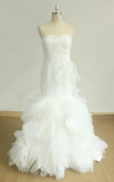 Chapel Train Organza Satin Weddig Dress With Flower Ruffles