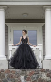 A-Line Straps Floor-length Sleeveless Low-V Back Lace With Ruffles Sash/Ribbon Black Wedding Dress