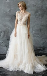 Scoop-Neck Cap-Sleeve A-Line Pick Up Tulle Dress With Beading And Appliques