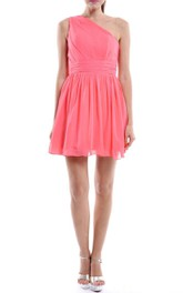 Short Coral One-shoulder Chiffon Dress