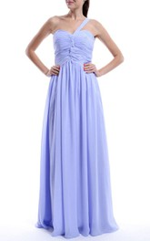 A-line One-shoulder Strapped Sweetheart Chiffon Dress