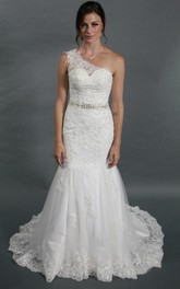 One Shoulder Mermaid Wedding Dress With Crystal Beading