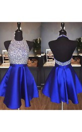 A-line Halter Sleeveless Beading Ruffles Short Mini Satin Homecoming Dress
