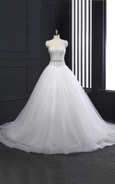 V-neck Tulle A-line Wedding Dress With Beaded Bodice