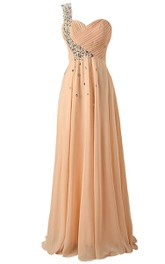 One-shoulder Crystal-beaded A-line Dress With Lace-up Back