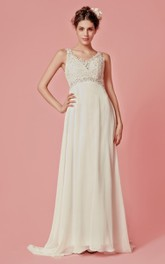 Sleeveless V-Neck Chiffon Long Dress With Lace Bodice