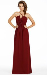 Ruched Spaghetti Chiffon Bridesmaid Dress With Low-V Back