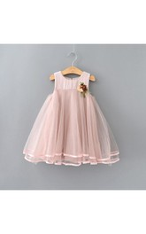 Bohemian Dusty Rose High Waist Tulle Flower Girl Dress With Flower Brooch Waist