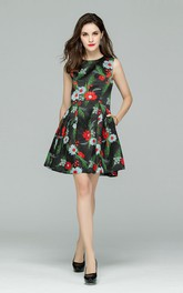 Flower Print Sleeveless A-Line Mini Dress with Pockets