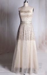 Strapless A-line Tulle Dress With Sequins
