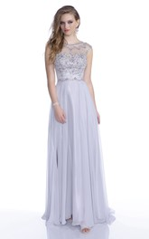Cap Sleeve A-Line Chiffon Prom Dress Featuring Shining Rhinestone Bodice