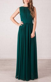 Maxi Chiffon Dress With Pleats