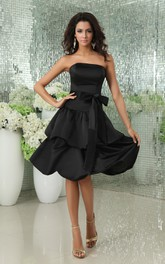 Strapless Satin Dress With Tiered Skirt And Ribbon