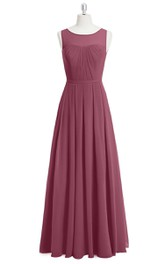 Sleeveless Chiffon A-Line Long Dress With Bateau Neckline and Pleats