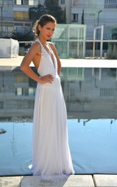 Halter Neck Sleeveless Backless Floor-Length Chiffon Wedding Dress