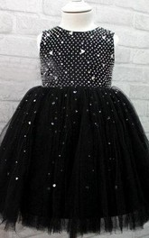 Sleeveless Jewel Neckline Ball Gown Tulle Dress With Beadings