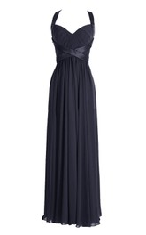 Sleeveless Ruched Bodice Long Pleated Chiffon Dress