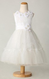 Flower Jewel Neckline Tulle&Satin Dress With Beading and Flower