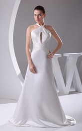 Sleeveless Satin A-Line Beaded Dress with Halter and Keyhole