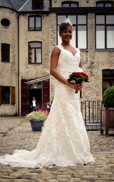Long Lace V-Neck Wedding Dress With Keyhole Back