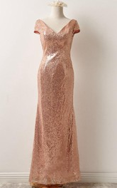 Short Sleeve Sequins Floor-Length Dress With Low-V Back