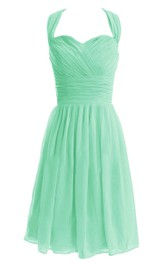 Halter Sweetheart Short Dress With Ruched Band